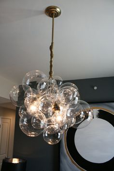Gold Glass Bubble Chandelier Original/1st one ever by DesignJet, $580.00