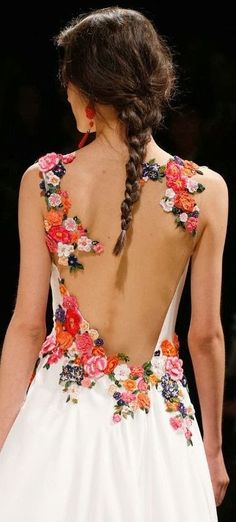 Alberta Ferreti S/S 2014 - To everyone with scoliosis...a dress like this would make your back look beautiful! You don't need to hide your battle scars, decorate them with flowers.