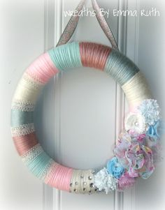Baby Pink & Baby Blue Yarn Wreath