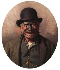 One of my favourite paintings of all time.Ta Moko (traditional Maori tattoo) on Mr. Te Aho-o-te-rangi Wharepu, Ngati Mahuta Polynesian People, Polynesian Art, Polynesian Culture, Polynesian Tattoos, Maori People, Maori Designs, New Zealand Art, Nz Art, Sam Sam