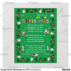 Funny Verse Christmas Holiday Postcard