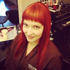 Color is fun.  #goldwell #houston #hair #texas #tracibcolor Bright red hair fire engine red red orange