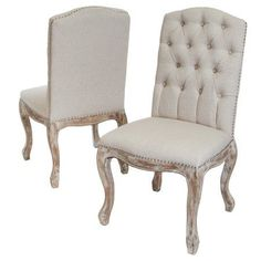 Noble House Vahn Beige Tufted Fabric Weathered Hardwood Dining Chairs, Set of 2