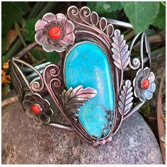 Nancy Custer Navajo Old Pawn LG Turquoise & Coral Vintage Cuff Native American