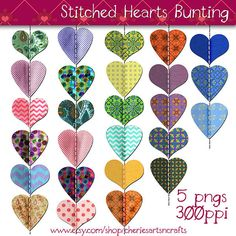 Bunting Clip Art, Stitched Hearts Bunting, Digital Scrapbooking... ($3.95) ❤ liked on Polyvore featuring hearts