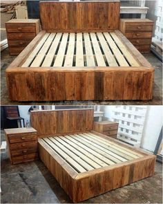 For the bedroom of a new home, why buy the bed at a high rate when you can make it at home? Just arrange the wood pallets and use the simple tools to attach the pallets to turn them into an adorable bed with the side tables. #palletfurniturebedroom
