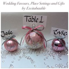 Vintage pink with flower glass Wedding Favours, Table Settings and Gifts www.excitabauble.co.uk