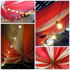 The absolutely amazing table cloth circus tent! We still can't believe how amazing it turned out! We used about 32 tablecloths to make this and endless amounts of staples to keep it in place. White Christmas lights were wrapped around poles and amazing round bulb patio lights from Target hung across the tent, which really set the mood!