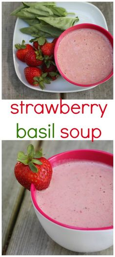 Chilled strawberry basil soup is a light and refreshing soup for any warm weather occasion! @MomNutrition