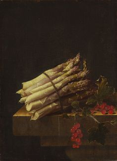 Adriaen Coorte, Still Life with Asparagus and Red Currants, 1696, oil on canvas, 34 × 25 cm (13.4 × 9.8 in), The Lee and Juliet Folger Fund, National Gallery of Art, Washington.