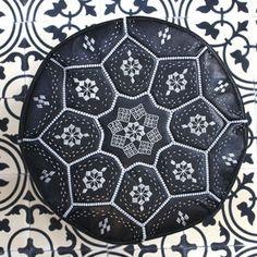 Moroccan Leather Pouffe Cover, Tile Design - furniture