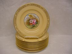 Set of 10 Copeland Spode for Tiffany Floral / Beige Lunch Plates