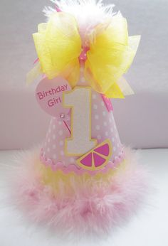 Polka Dot Pink Lemonade  Birthday Party Hat by SandysSpecialtyShop
