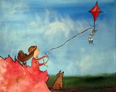Clearance Sale -- Whimsical Girl Painting, Kite Flying, Original Childrens Art by Andrea Doss, 20 x 16