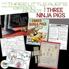 "Dive deep into these books with a week of meaningful activities that cover Core Standards. ""The Three Little Aliens and the Big Bad Robot"" and ""The Three Ninja Pigs"""