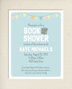 Baby Book Shower Printable Invitation Aqua by BlueberryPrints Baby Shower Parties, Baby Shower Themes, Baby Boy Shower, Baby Shower Gifts, Baby Showers, Shower Ideas, Pink Invitations, Printable Invitations, Invite
