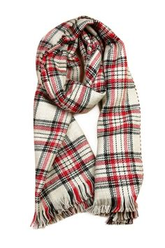Plaid Houndstooth Double-Faced Pashmina