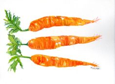 Original 3 Carrots Painting watercolor,  Vegetables series, 5 x 7 on Etsy, $15.00