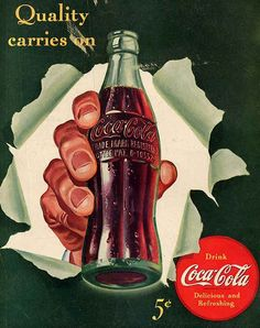 Detail Of Coca-Cola Quality Carries On Coke - Mad Men Art: The Vintage Advertisement Art Collection Coke Ad, Coca Cola Ad, Always Coca Cola, Coca Cola Bottles, Coca Cola Vintage, Pub Vintage, Vintage Signs, Propaganda Coca Cola, Garrafa Coca Cola