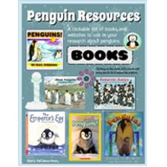 Your friendly neighborhood TpT librarian has put together a clickable bibliography for you ... centered around one of our favorite cold weather animals, the penguin. This FREE download includes my favorite nonfiction titles, kid-friendly websites, and videos that relate to all different aspects of the penguin.