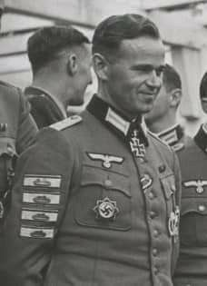 Erich Löffler (March 22nd, 1908 - March 17th, 1945) was awarded the Knight's Cross as Hauptmann and Kommandeur of II. / Infanterie-Regiment 57 on October 7th, 1942. Also awarded four Tank Destruction Badges for the destruction of enemy tanks with handheld weapons, Löffler was killed by a US 105mm shell that hit his command post in Frankfurt am Main.