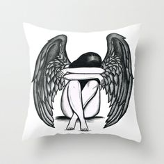 girl with wings Throw Pillow by Seymour Art - $20.00