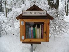 Little Free Library - love it!(**This would be awesome to do if I didn't live down the block from the library. They also have a shelve of books u can burrow wout needing a library card, u return when done.)