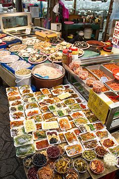 Banchan at Bujeon Market Town Busan Korea.
