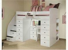 diseos de camas loft con escritorio ahorro de espacio