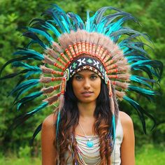Aqua Colored Native American Headdress - 75cm