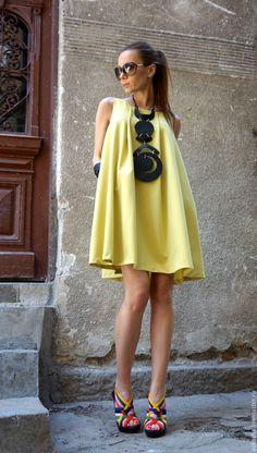 Купить ПлатьеMustard Little Dress - лимонный, летнее платье, яркое платье, короткое платье