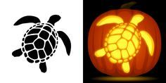 Sea turtle pumpkin carving stencil. Free PDF pattern to download and print at http://pumpkinstencils.org/download/sea-turtle-pumpkin-stencil/