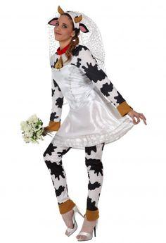 Costume mucca sposa adulti: una mucca in abito da sposa non è forse l'idea travestimento più folle ed eccentrica che tu abbia mai visto? La sera prima del tuo matrimonio, fai le prove indossando un abito da sposa assolutamente unconventional e indossa questo costume da mucca sposa per divertirti con le tue amiche!