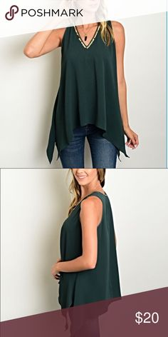 Evergreen top with gold neckline Sleeveless evergreen top with detailed gold neckline. Material-chiffon This top is perfect for the fall! Wear it casual with jeans or dress it up. Tops