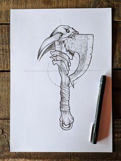 Tattoo Design Drawings, Tattoo Sketches, Tattoo Designs, Flash Art Tattoos, Axe Drawing, Axe Tattoo, Arte Grunge, Totenkopf Tattoos, Tattoo Lettering Fonts