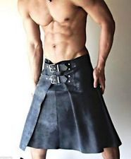 Men New Leather Kilt Gladiator Warrior Black Kilt Genuine Leather Stylish K-01