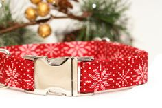 Christmas Dog Collar  Red & White Snowflakes with by ZaleyDesigns, $28.00