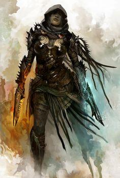 Female Gunner by Kekai Kotaki. Concept art for guild wars Guild Wars 2, Character Concept, Character Art, Concept Art, Character Design, Dark Fantasy, Medieval Fantasy, Forgotten Realms, Twilight Princess