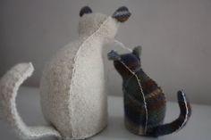 felted wool kitties