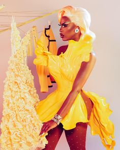 "Shea Couleé (She/They) on Instagram: ""✨🍋🌼Crème Brûlée🌼🍋✨ Photo by @brendon_brown_ & @danpolyak Dress by @abrahamdlevy Hair by @wigsandgrace"""
