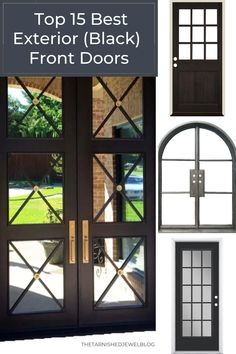 Looking for a new front door, but need help choosing the right one? Try Top 15 Best Exterior (Black) Front Doors by thetarnishedjewelblog.com. I've included: different style doors with other colors (not all of them black), at the best prices. #frontdoors #frontdoorstyle #exteriorfrontdoor #modernfarmhouseexterior #blackfrontdoor #blackfrontdoors #modernfarmhousestyle Double Front Entry Doors, Black Front Doors, Exterior Front Doors, Modern Farmhouse Exterior, Modern Farmhouse Style, Front Porch Posts, Modern Door, Front Elevation, Black Furniture