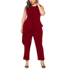 Plus Size Woman Jumpsuits Fashion Solid Sleeveless Clothing Elegant O-neck Ruffles Playsuits Large Big Size Ladies OL Wear 1 Pcs Leather Bodysuit, Leather Jumpsuit, Rompers Women, Jumpsuits For Women, Womens Denim Overalls, Backless Jumpsuit, Lace Jumpsuit, Sleeveless Outfit, Plus Size Women