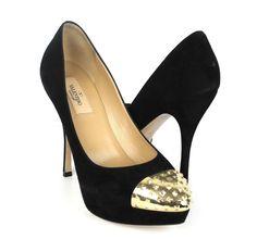 Valentino Black Suede Gold Rockstud Cap Toe Platform Pumps Size 38 NWOB $795 #Valentino #PlatformsWedges