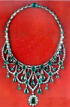 The diamond and emerald necklace in the Iranian Crown Jewels is a unique piece of jewelry, noted for its perfect symmetry and mathematical precision combined with artistic beauty, that has become a living monument to the artistic skills of the jewelry designers of the distant past. The necklace undoubtedly belonged to the period of Fath Ali Shah who ruled from the end of 18th century to the mid-19th century.
