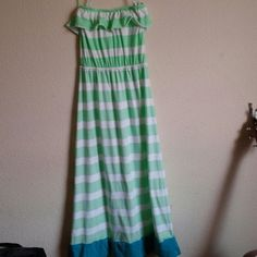 Aeropostale maxi dress mint green white stripes Sm Aeropostale maxi strapless…