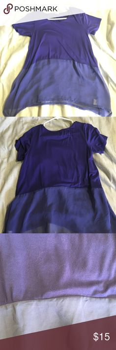Purple two tone blouse Purple two tone blouse. It has a darker purple on top then around the stomach area it becomes a sheer purple Forever 21 Tops Blouses
