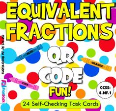 This title is aligned with common core standard 4.NF.1 and contains 24 self-checking task cards for students to practice finding and identifying equivalent fractions. A recording sheet is also provided for students to check their work.  See this resource in action in my Fractions QR Code Task Cards VIDEO.