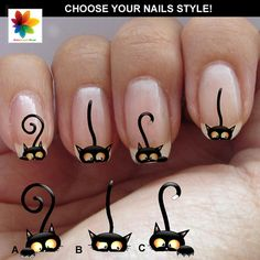 Black cat nail cat face nail puppy 60 by Nailsgraphicworld on Etsy, $5.90