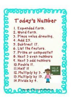 Upper Elementary Number of the Day Poster - freebie (made by me!)