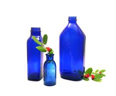 Cobalt Glass Apothecary Bottles  Set of 3 by SpaceshipEarth, $15.00